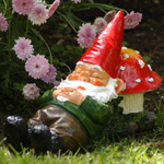 Sleeping Gnome on Mushroom Garden Statue