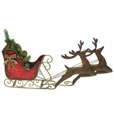 Small Christmas Sleigh w/Reindeers - Click to enlarge