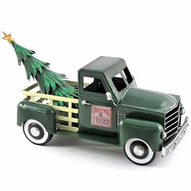 Small Green Truck w/Christmas Tree - Click to enlarge