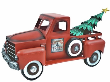 Small Red Truck w/Christmas Tree - Click to enlarge