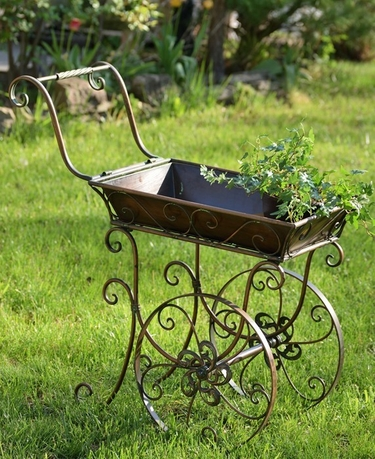 Small Victorian Flower Cart w/Moving Wheels - Click to enlarge