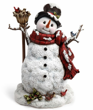 Snowman w/Holly & Broom Statue - Click to enlarge