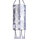 "Solar 37"" Laser Cut Filigree Angel Wind Chimes - Silver"