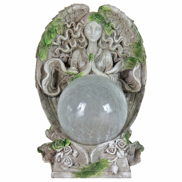 Solar Angel Statue w/Glass Ball - Click to enlarge