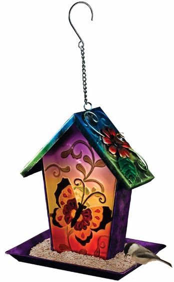 Solar Butterfly Lantern Bird Feeder - Click to enlarge