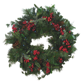Solar Christmas Winterberry Wreath