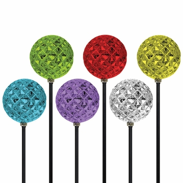 Solar Diamond Orb Garden Stakes (Set of 3) - Click to enlarge
