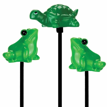 Solar Frogs & Turtle Garden Stakes (Set of 3) - Click to enlarge