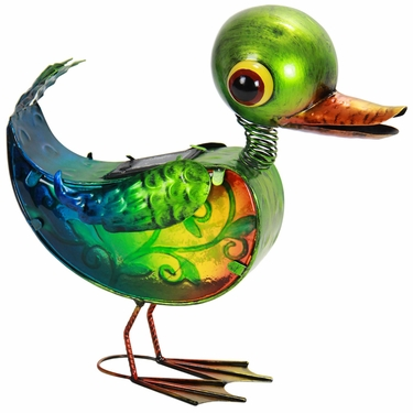 Solar Glass Duck Statue with 8 LED Light String - Click to enlarge