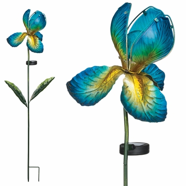 Solar Glass Flower - Blue Iris - Click to enlarge