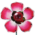 Solar Glass Flower Garden Stake - Red