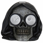 Solar Hooded Skull Statue w/LED Eyes
