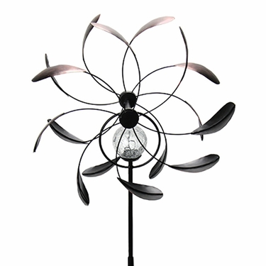 Solar Kinetic Dual Spinner Garden Stake - Bronze - Click to enlarge