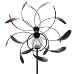 Solar Kinetic Dual Spinner Garden Stake - Bronze