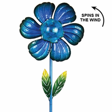 Solar Kinetic Flower Garden Stake - Blue - Click to enlarge