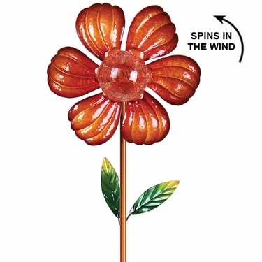 Solar Kinetic Flower Garden Stake - Orange - Click to enlarge