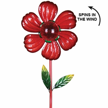 Solar Kinetic Flower Garden Stake - Red - Click to enlarge