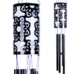 Solar Laser Cut Flower Wind Chime - Black