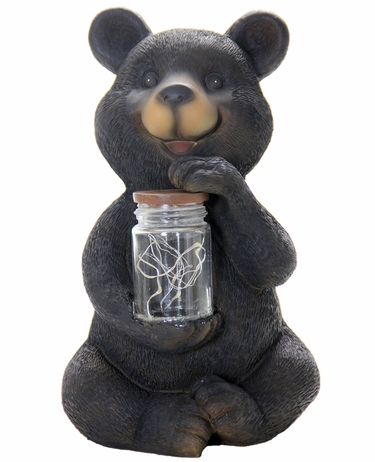 Solar LED Bear w/Jar of Fireflies - Click to enlarge