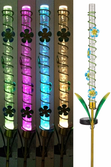 Solar LED Bubble Stake - Blue Flowers - Click to enlarge