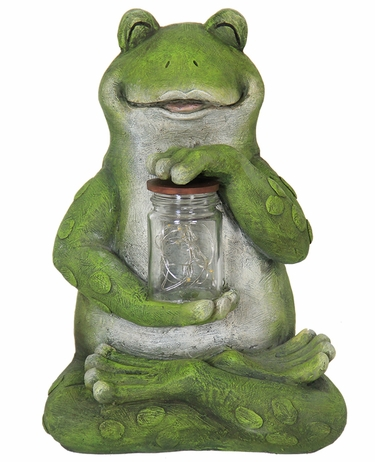Solar LED Frog w/Jar of Fireflies - Click to enlarge
