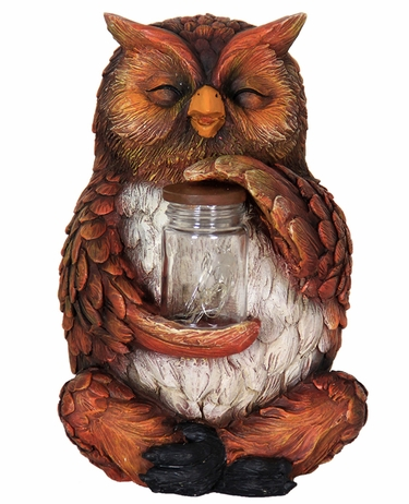 Solar LED Owl w/Jar of Fireflies - Click to enlarge