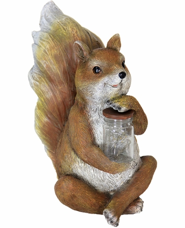 Solar LED Squirrel w/Jar of Fireflies - Click to enlarge