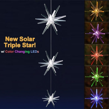 Solar Star Triple Lights w/Color Changing LEDs - Click to enlarge