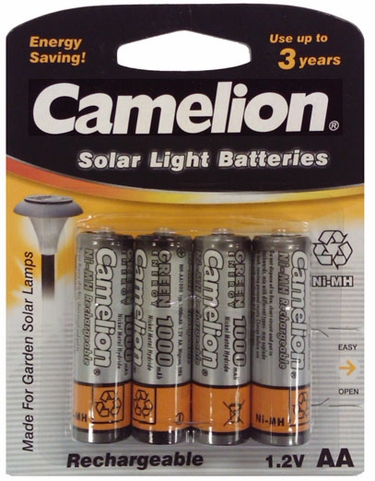 Solar Light Batteries - AA Ni-Cd 4-pack - Click to enlarge