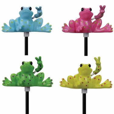 Solar Peace Frog Garden Stakes (Set of 4) - Click to enlarge