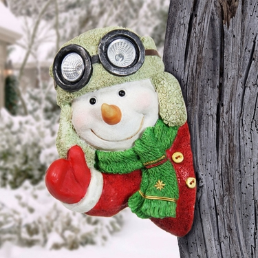 Solar Snowman Tree Hugger - Click to enlarge