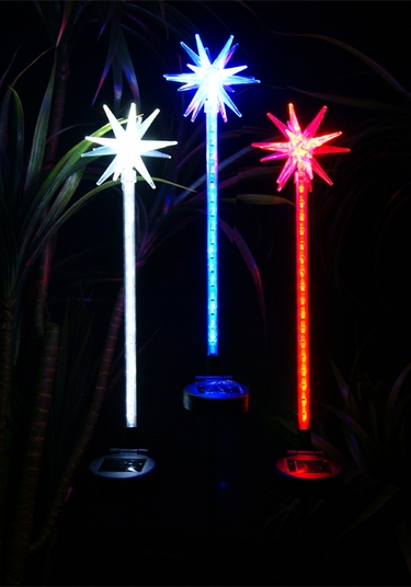 Solar Star Motion LED Stakes (Set of 3) - Click to enlarge