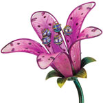 Solar Tiger Lily Stake - Pink Glass