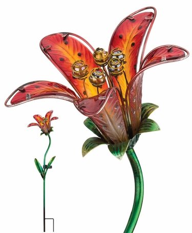 Solar Tiger Lily Stake - Red Glass - Click to enlarge