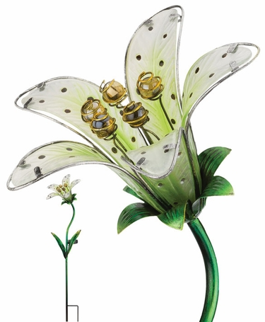 Solar Tiger Lily Stake - White Glass - Click to enlarge