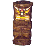 Solar Tiki Statue - Tribal Painted Makaha