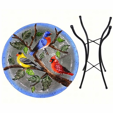 Songbirds Glass Birdbath w/Stand - Click to enlarge