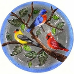 Songbirds Glass Birdbath w/Stand
