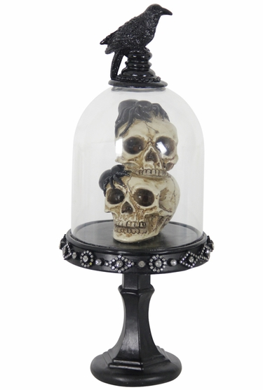 Spooky Dome w/Stacked Skulls & LEDs - Click to enlarge