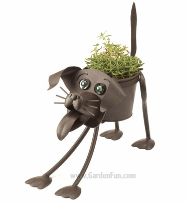 Sport the Metal Dog Planter - Click to enlarge