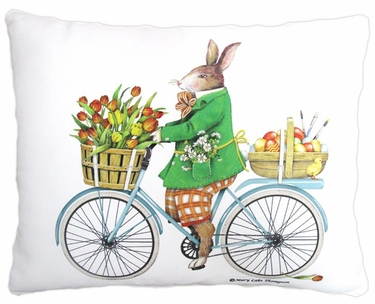 Spring Bunny on Bike Outdoor Pillow - Click to enlarge