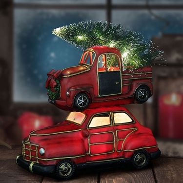 Stacked LED Cars w/Christmas Tree - Click to enlarge