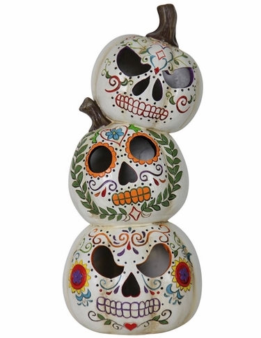Stacked Sugar Skull Pumpkins - Click to enlarge