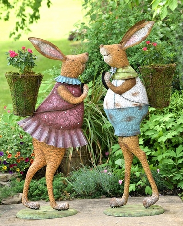 Standing Iron Rabbits w/Planters (Set of 2) - Click to enlarge