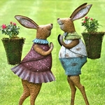 Standing Iron Rabbits w/Planters (Set of 2)