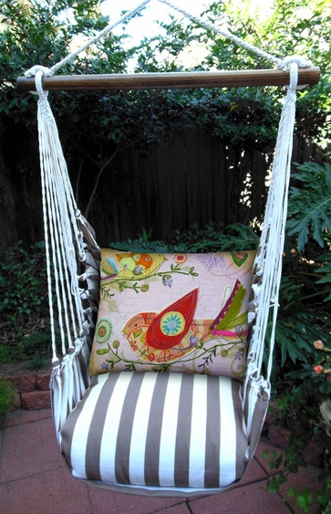 Striped Chocolate Bird Heartstrings Hammock Chair Swing Set - Click to enlarge