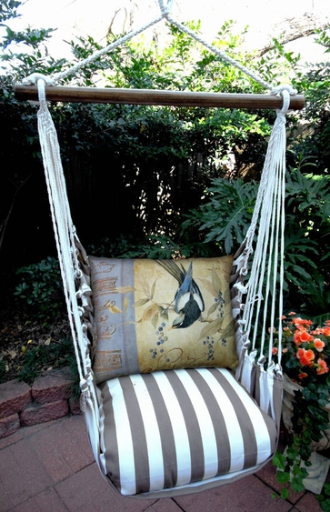 Striped Chocolate Bird on Vine Hammock Chair Swing Set - Click to enlarge