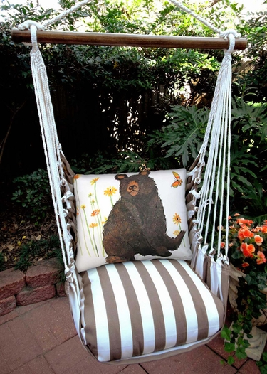 Striped Chocolate Brown Bear Hammock Chair Swing Set - Click to enlarge
