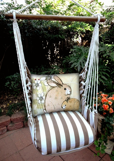 Striped Chocolate Bunny Rabbits Hammock Chair Swing Set - Click to enlarge