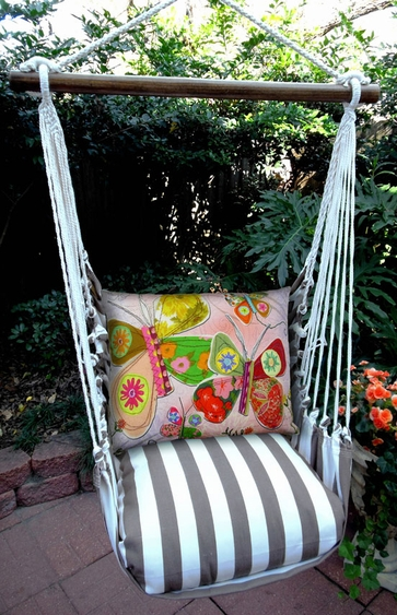Striped Chocolate Butterfly Heartstrings Hammock Chair Swing Set - Click to enlarge